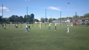 Being taught hurling