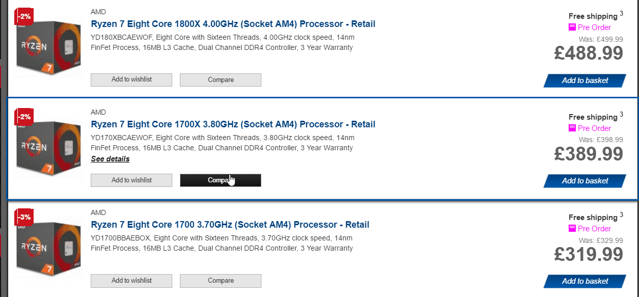 AMD Ryzen Pre-orders are live – UK Pricing