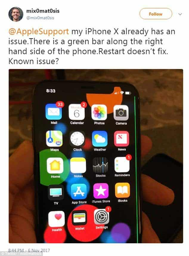 "iPhone X suffering from ""green line of death"" screen fault and"
