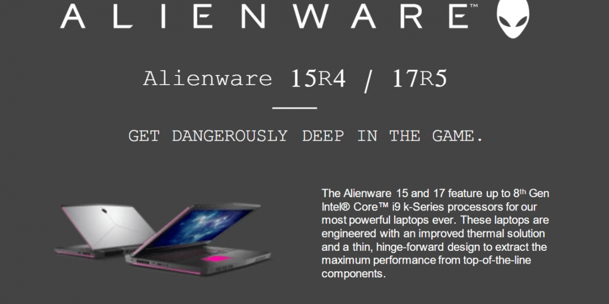 Alienware 15 R4 MLK & 17 R5 Launched – Overclocked 5GHz i9-8950HK Coffee Lake, 4K Gsync and up to GTX 1080