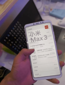 Xiaomi MI Max 3 Specifications Leaked 4