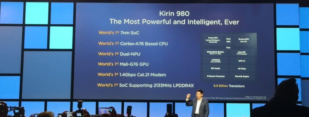 Huawei Announce HiSilicon Kirin 980 System on Chip available on Mate 20 in October 1