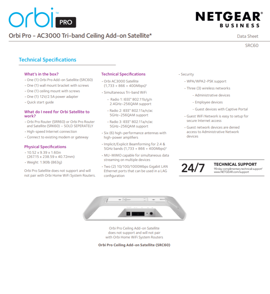 Netgear Insight WAC540 4x4 AP, Orbi Pro Ceiling with POE and new