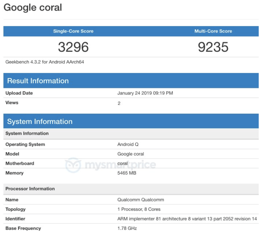 """Google """"Coral"""" Android Q device with Snapdragon 855 SoC, 6GB RAM on GeekBench. Possibly Pixel Chromebook 2"""