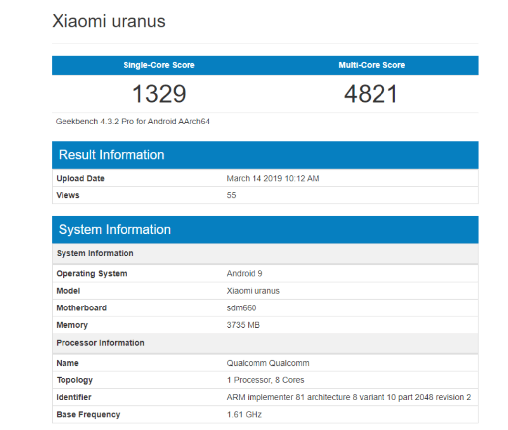 Xiaomi POCO F1 Lite appears on Geekbench with  Snapdragon 660 SoC and 4GB RAM 3