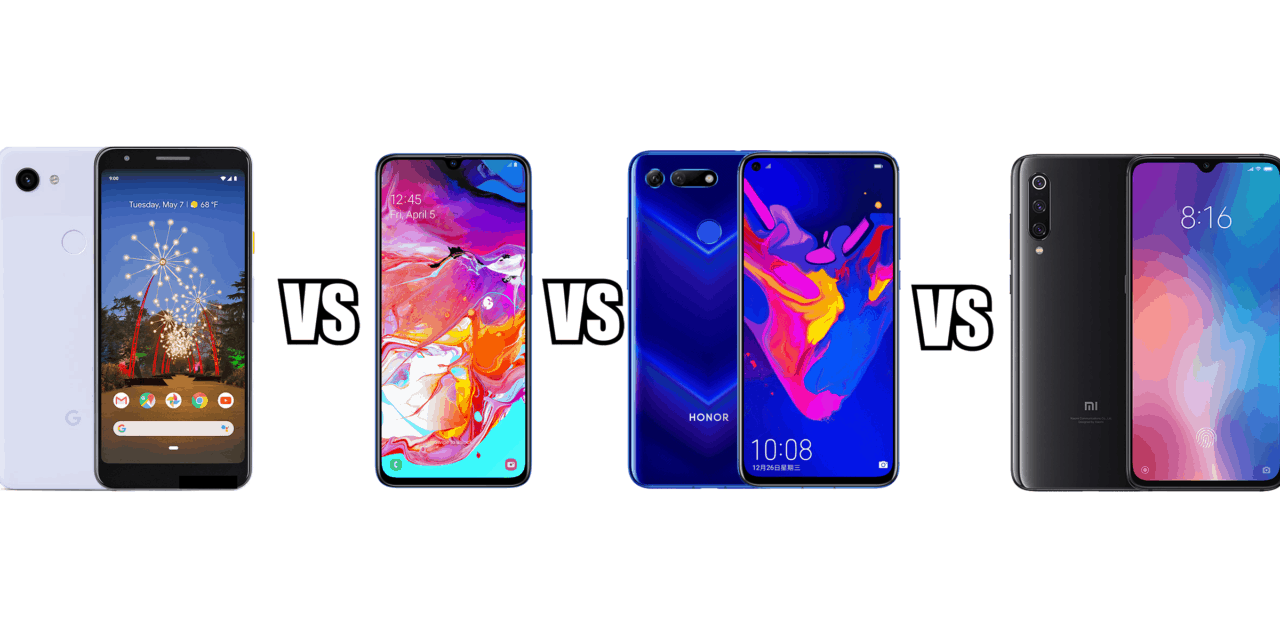 Google Pixel 3a vs Samsung A70 vs Honor View 20 vs Xiaomi Mi 9 : What can £400 buy you?