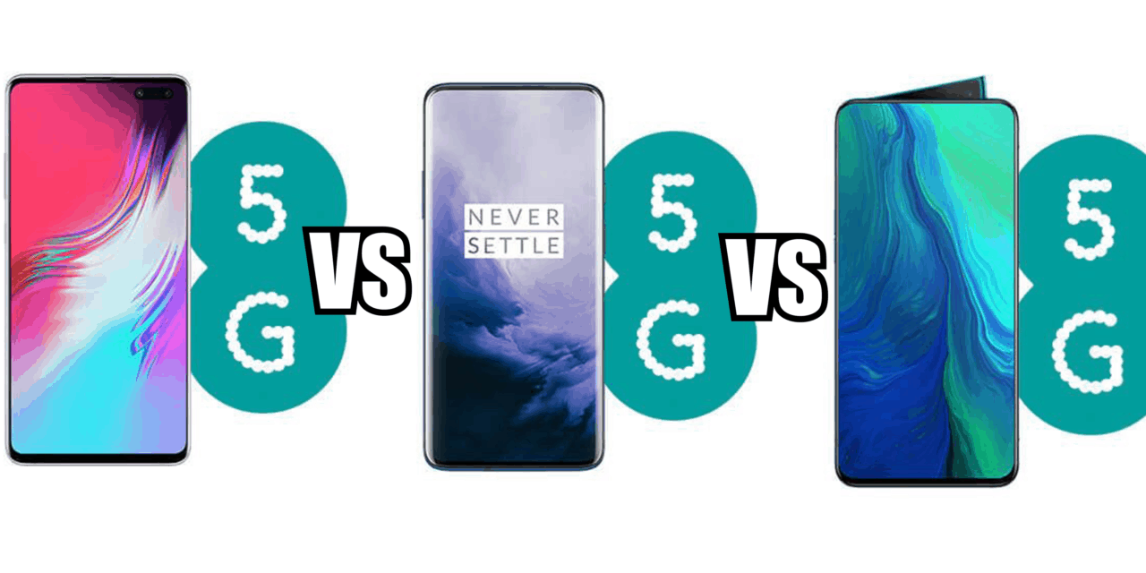 Samsung Galaxy S10 5G vs	OnePlus 7 Pro 5G vs Oppo Reno 5G – Which is the best 5G phone?