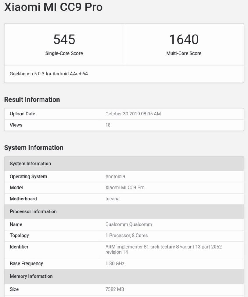 Xiaomi Mi Note 10 Geekbench results confirm it's the Mi CC9 Pro. Mi Note 10 Pro may arrive with Snapdragon 855+ 5