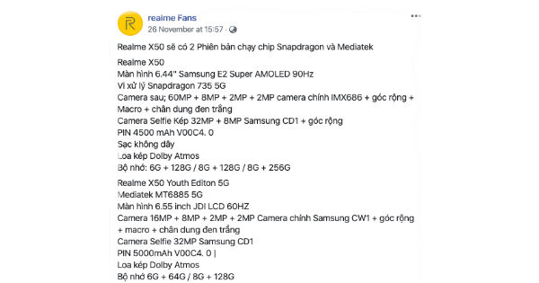 Realme X50, X50 Lite 5G Specifications Leaked 2