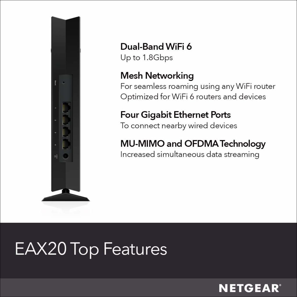 Netgear expand mesh WiFi 6  range with EasyMesh compatible MK62 system, RAX50 router and EAX20 extender 1