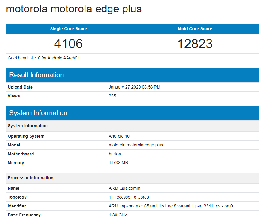 Motorola Edge+ shows up on Geekbench with SD865 and 12GB RAM & is the first flagship device since the 2018 Moto Z3 2