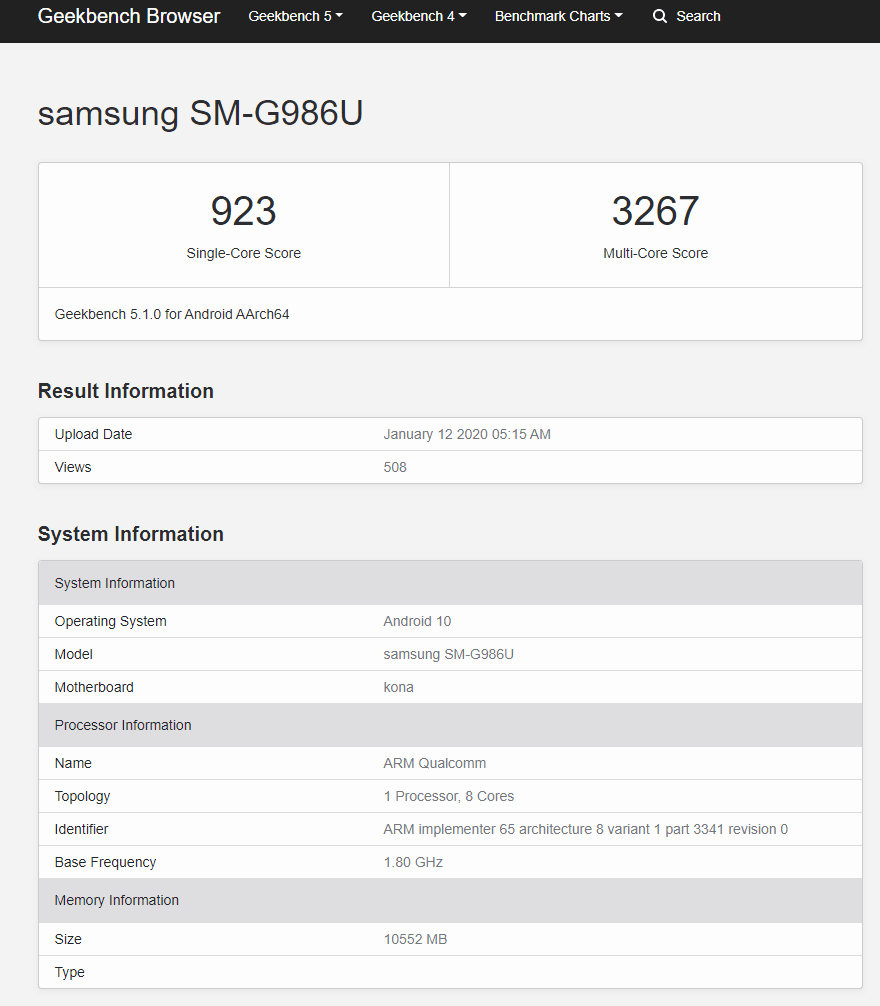 Samsung Galaxy S20 Ultra 5G has a Bonkers Specification – S20 Series Geekbench, Live Images and more 2