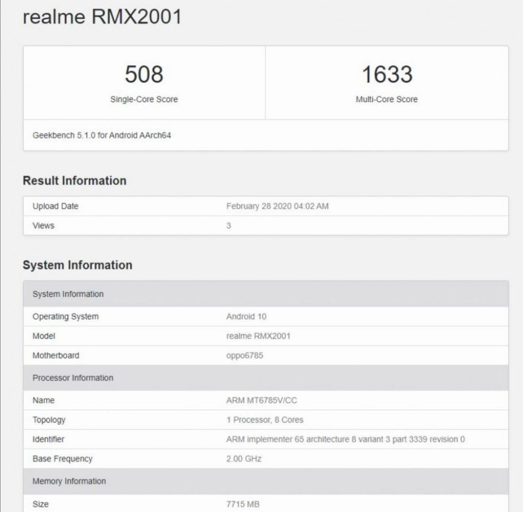Realme 6  vs Redmi Note 8 Pro - MediaTek Helio G90 Geekbench benchmark revealed showing the performance difference between Helio G90t & Snapdragon 720G of Realme 6 Pro 1