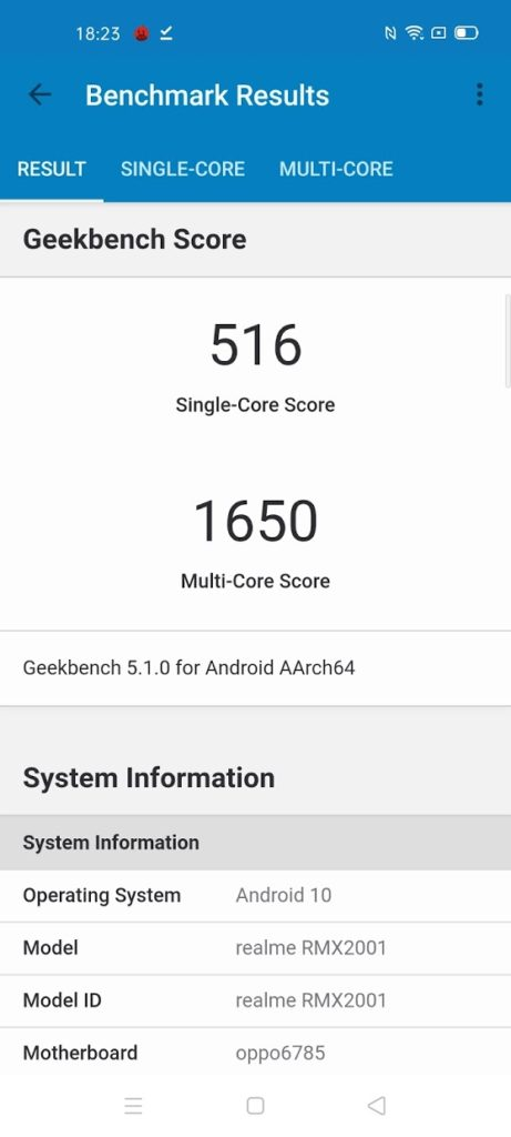 Realme 6 with Helio G90T Geekbench
