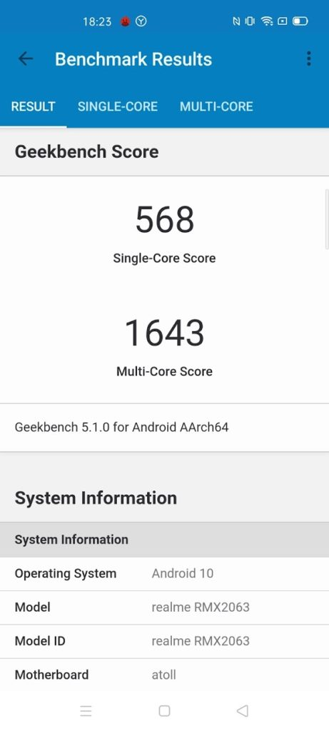 Realme 6 Pro with Snapdragon Geekbench