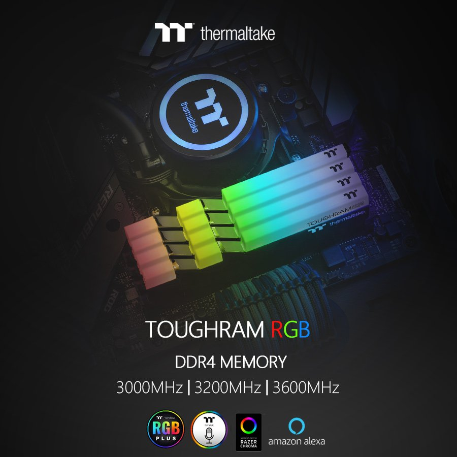 Thermaltake Toughram & Toughram RGB now available in speeds from 3000MHz to 4400MHz including a sleek looking white edition 4