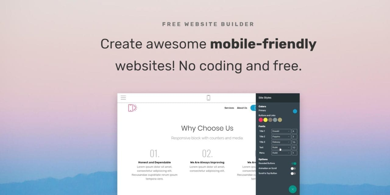 Mobrise Review: A Promising Free Website Builder Software for Small Businesses that allows you to publish the content to your own hosting