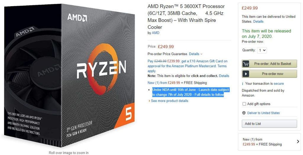 AMD Ryzen 5 3600XT & Ryzen 9 3900XT Price and Launch Date revealed by Amazon with big price hikes 3