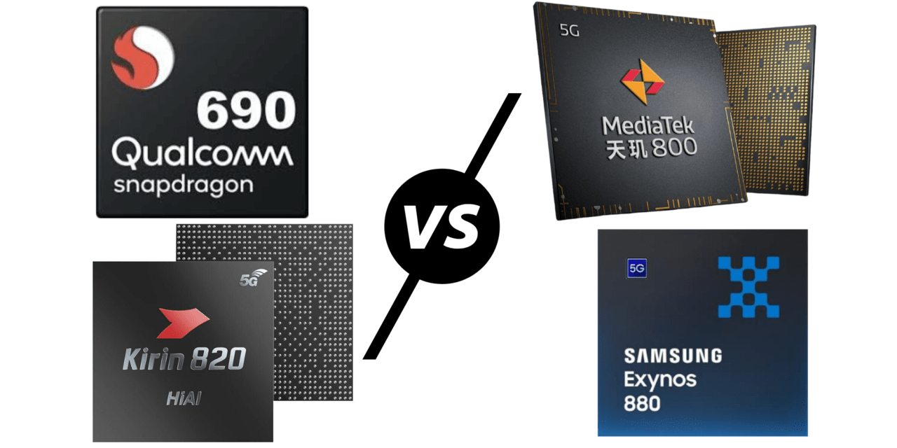 Qualcomm Snapdragon 690 vs Mediatek Dimensity 800 & 820 vs Hisilicon Kirin 820 vs Exynos 880 – Affordable 5G chipset Comparison