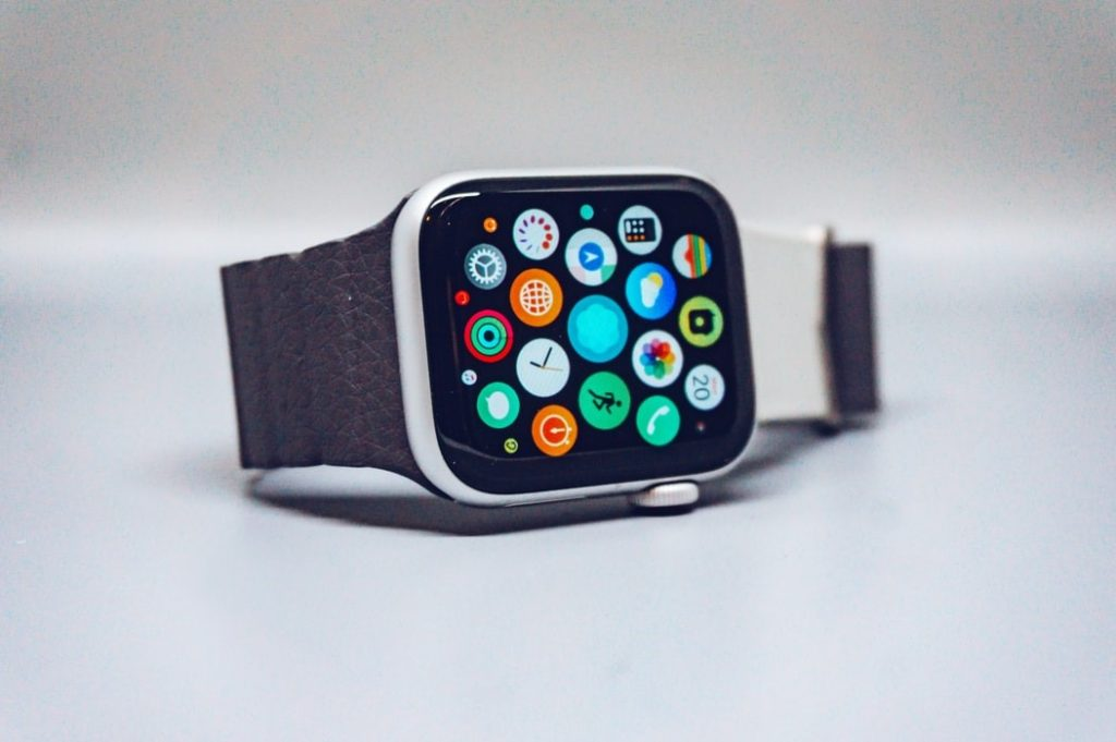 An Apple Watch Series 5 with multiple apps