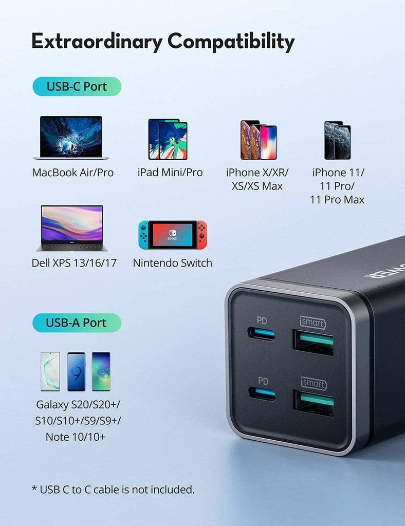 RAVPower PD Pioneer 65W 4-Port GaN USB-C Charger Review 3