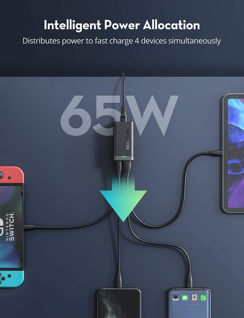 RAVPower PD Pioneer 65W 4-Port GaN USB-C Charger Review 2